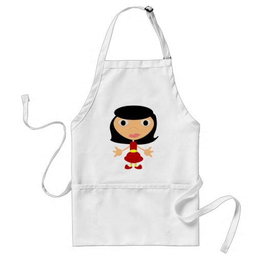 Black Haired Girl With Red Shoes Aprons