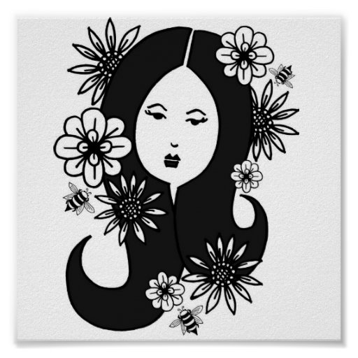 black haired lady with flowers & bees posters
