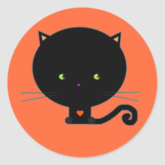 Black Halloween Cat Stickers