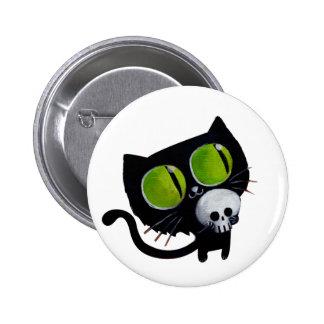 Black Halloween Cat with Skull 6 Cm Round Badge