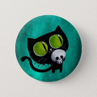 Black Halloween Cat with Skull 6 Cm Round Badge