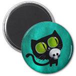Black Halloween Cat with Skull 6 Cm Round Magnet