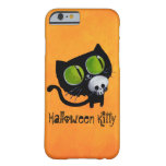 Black Halloween Cat with Skull Barely There iPhone 6 Case