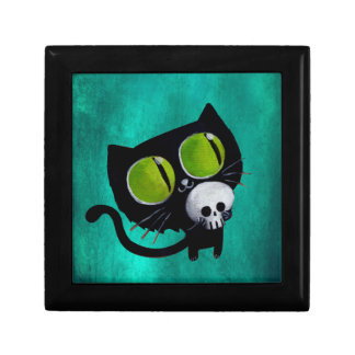 Black Halloween Cat with Skull Gift Box