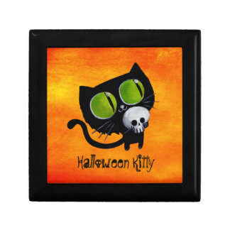 Black Halloween Cat with Skull Gift Box