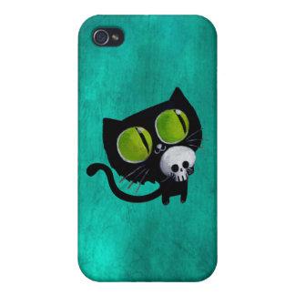 Black Halloween Cat with Skull iPhone 4/4S Case