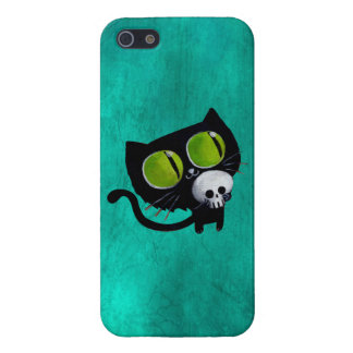 Black Halloween Cat with Skull iPhone 5 Cases
