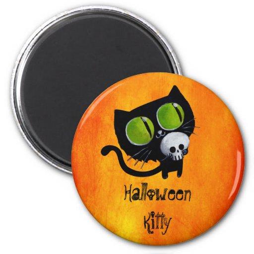 Black Halloween Cat with Skull Fridge Magnets