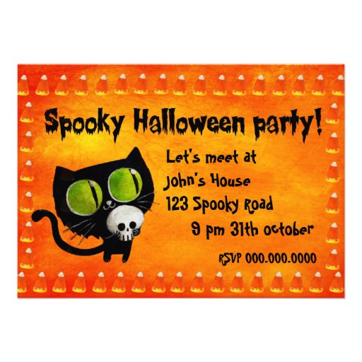 Black Halloween Cat with Skull Party Invitation