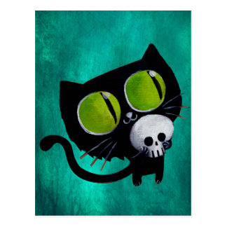 Black Halloween Cat with Skull Post Card