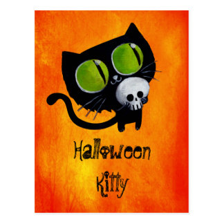 Black Halloween Cat with Skull Post Cards