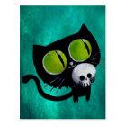 Black Halloween Cat with Skull Postcard
