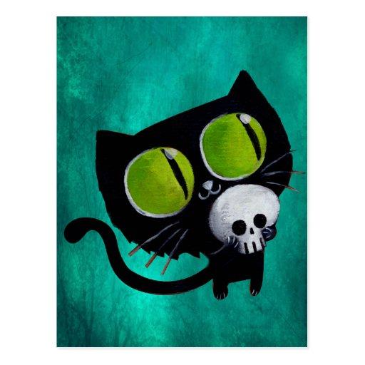 Black Halloween Cat with Skull Post Card
