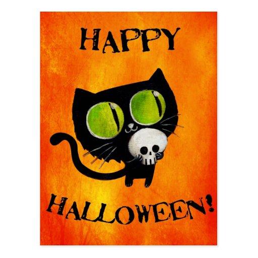 Black Halloween Cat with Skull Postcards