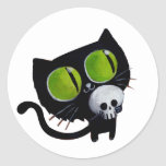 Black Halloween Cat with Skull Round Stickers