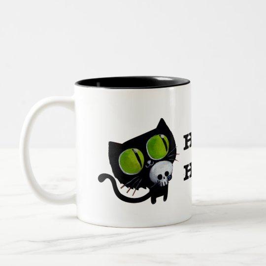Black Halloween Cat with Skull Two-Tone Coffee Mug