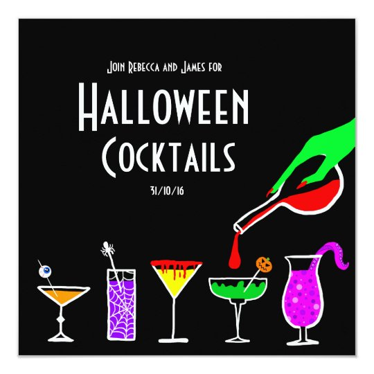 Black Halloween cocktails drinks party invitation