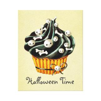 Black Halloween Cupcake Stretched Canvas Print