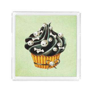 Black Halloween Cupcake with tiny skulls Acrylic Tray