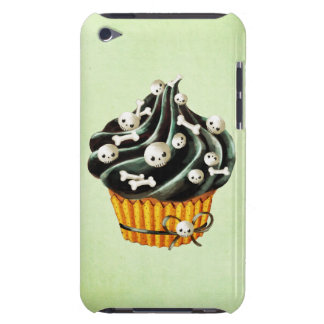 Black Halloween Cupcake with tiny skulls Barely There iPod Cover
