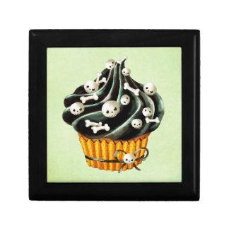 Black Halloween Cupcake with tiny skulls Gift Box