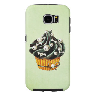 Black Halloween Cupcake with tiny skulls Samsung Galaxy S6 Cases