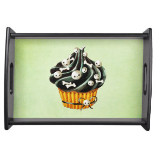 Black Halloween Cupcake with tiny skulls Serving Tray