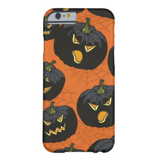 Black Halloween Pumpkins on Orange Barely There iPhone 6 Case