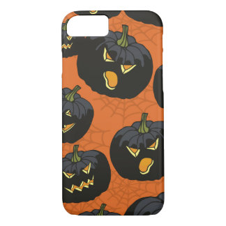 Black Halloween Pumpkins on Orange iPhone 7 Case