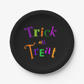 Black Halloween Trick or Treat plate