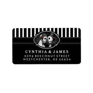 Black Halloween Wedding Skeletons Stripe Address Label