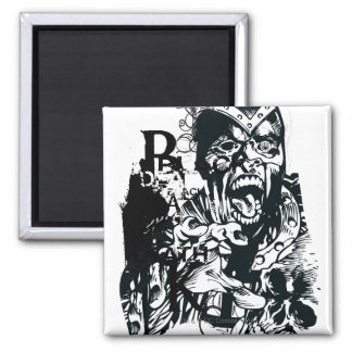 Black Hand and Skull Collage Square Magnet