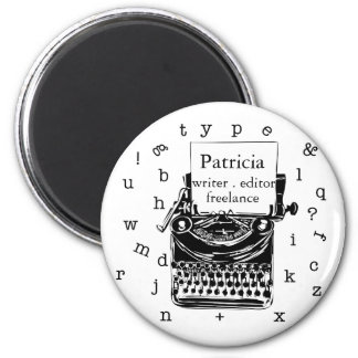 Black Hand Drawn Retro Typewriter | Editable  TEXT 6 Cm Round Magnet