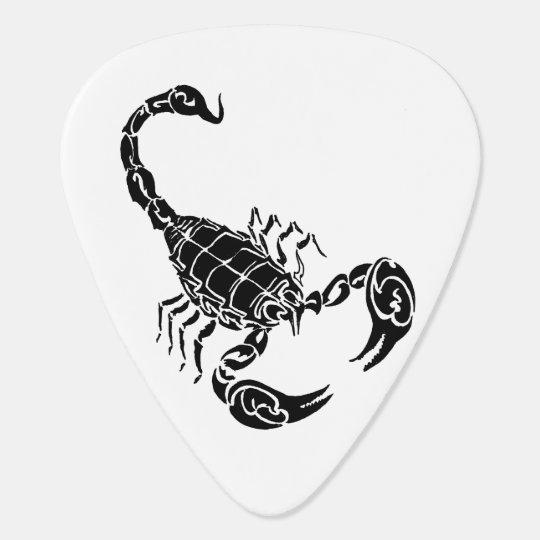Black Hand-drawn Scorpion Doodle Plectrum