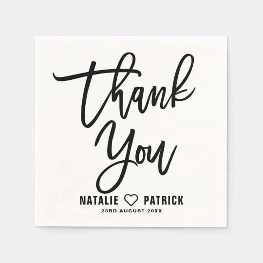 Black Hand Lettered Wedding Thank You Paper Napkins