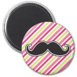 Black handlebar moustache pink lime green stripes 6 cm round magnet