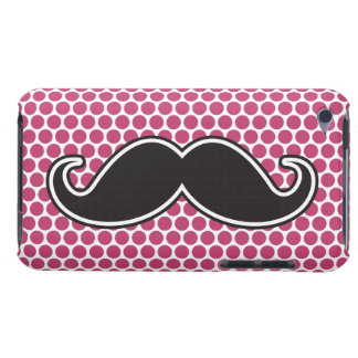 Black handlebar mustache fuchsia polka dot pattern Case-Mate iPod touch case