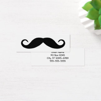 Black Handlebar Mustache Mini Business Card