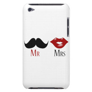 Black Handlebar Mustache Mr and Mrs Barely There iPod Cover