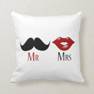 Black Handlebar Mustache Mr and Mrs Cushion