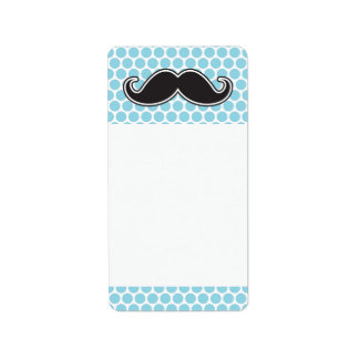 Black handlebar mustache on blue polka dot pattern address label