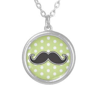 Black handlebar mustache on lime green polka dots custom jewelry