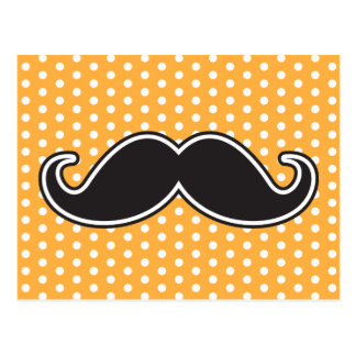 Black handlebar mustache on orange polka dots postcard