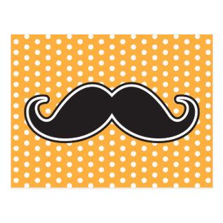 Black handlebar mustache on orange polka dots postcard