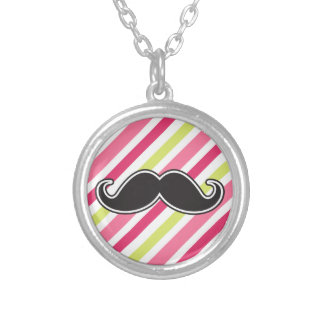 Black handlebar mustache pink lime green stripes necklace