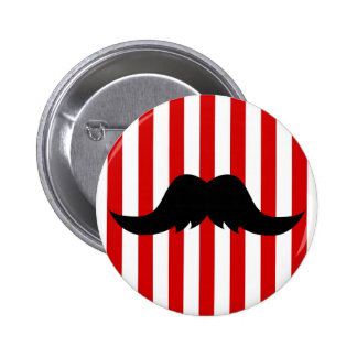 Black Handlebar Mustache w/Barber Shop Pole 6 Cm Round Badge