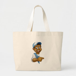 Black Handyman Mechanic Plumber Gardener Decorator Large Tote Bag