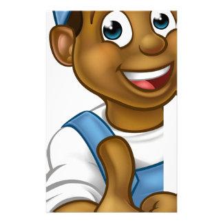 Black Handyman Peeking Sign Thumbs Up Customised Stationery