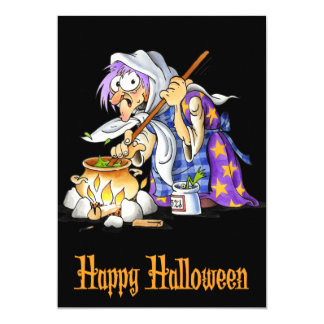 Black Happy Halloween Cards With Purple Witch 13 Cm X 18 Cm Invitation Card