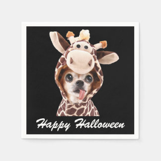 Black Happy Halloween Chihuahua Paper Napkins